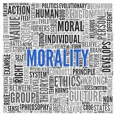 image of morals  - Close up Blue MORALITY Text at the Center of Word Tag Cloud on White Background - JPG