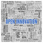 image of open-source  - Close up Blue OPEN INNOVATION Text at the Center of Word Tag Cloud on White Background - JPG