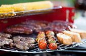 picture of frazzled  - Closeup of tasty food on barbecue party - JPG