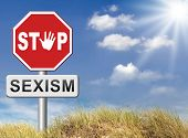 stock photo of stereotype  - stop sexism no gender discrimination and prejudice or stereotyping for women or men - JPG