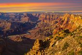 picture of grand canyon  - Beautiful Landscape of Grand Canyon from Desert View Point with the Colorado River visible during dusk - JPG
