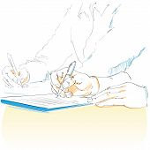 foto of person writing  - Business people hands writing sketch - JPG