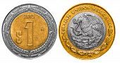 picture of pesos  - 1 Mexican Peso back and front close up - JPG