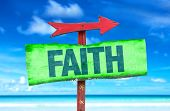 stock photo of faithfulness  - Faith sign with beach background - JPG