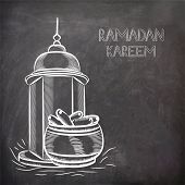 picture of kareem  - Illustration of arabic intricate lantern and dates on black chalk board background for Islamic holy month of prayers - JPG