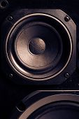 stock photo of subwoofer  - Detail shot of some old round speakers - JPG