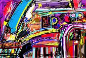 picture of interior sketch  - original digital painting of abstraction composition - JPG