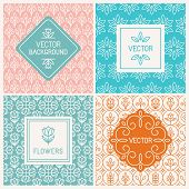 foto of decorative  - Vector mono line graphic design templates  - JPG
