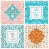 foto of floral design  - Vector mono line graphic design templates  - JPG