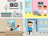 stock photo of orthopedic surgery  - Illustration of cartoon doctor and patient in orthopedic chamber - JPG
