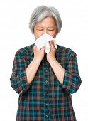 stock photo of sneezing  - Asian old woman sneeze - JPG
