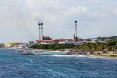 picture of curacao  - Heavy Industrial fuel plant on the coast of Curacao - JPG