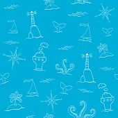 image of whale-tail  - Seamless vector sea pattern with lighthouse windrose ship octopus island and whale tail - JPG