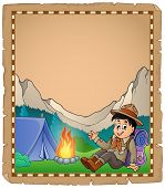 pic of boy scouts  - Parchment with scout boy in mountain  - JPG