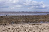 picture of tide  - Mud flats at low tide Spurn Point Nature Reserve Yorkshire Great Britain - JPG