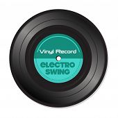 pic of swings  - Isolated vinyl record with the text electro swing written on the record - JPG