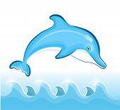 stock photo of porpoise  - Swimming Dolphin on Vector illustration EPS 10 - JPG