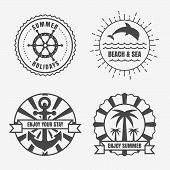 picture of steers  - Set of sea and summer nautical signs badges and labels - JPG