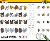 foto of brain teaser  - Cartoon Illustration of Completing the Pattern Educational Game for Preschool Children - JPG