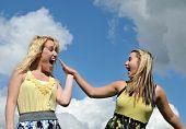 Young Happy Girls Highfive