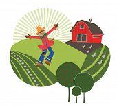 stock photo of scarecrow  - scarecrow on the farm  - JPG