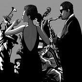 picture of double-bass  - Jazz band with singer - JPG