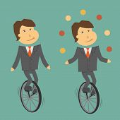 foto of unicycle  - A clerk balancing on a unicycle retro style - JPG