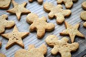 stock photo of gingerbread man  - Gingerbread cookies in shapes of heart - JPG