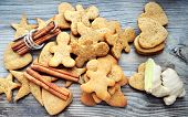 foto of ginger man  - Gingerbread cookies in shapes of heart - JPG