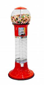 pic of gumball machine  - Gumball vending machine with colorful gumballs isolated on white background - JPG