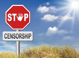 stock photo of freedom speech  - stop censorship free mind no suppression freedom of speech and thought not censoredpolitical academic and personal human rights  - JPG