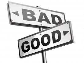 pic of evil  - good bad a moral dilemma about values and principles right or wrong evil or honest ethics legal or illegal road sign arrow - JPG