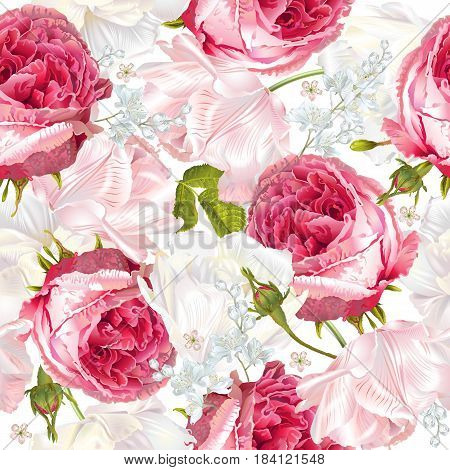 poster of Vector seamless pattern with garden roses and tulip flowers on white background. Background romantic design for cosmetics, perfume, greeting card, wedding invitation. Best for fabric or wrapping paper