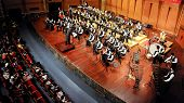 student symphonic band perform on stage