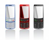 Vector realistic illustration of a color phones-slider, open