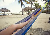 Beautiful female feet and legs relaxing in a blue hammock on the beach. Colorful toenails and peacef poster