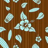 image of hawaiian flower  - Vector aloha seamless pattern - JPG