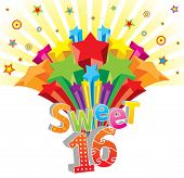 Funky vector Sweet 16 postcard