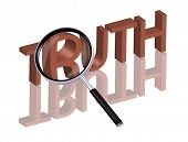 truth button truth icon search truth find truth Magnifying glass enlarging part of red 3D word with reflection