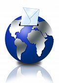 3D Globe With Email Envelope