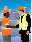 Engineer shaking hand of worker. Both wearing helmets and safety jackets with reflecting light strips. Color vector illustration.