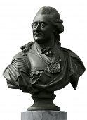 Bronze portrait statue of polish king Stanislaw August Poniatowski from Lazienki royal park. Isolate