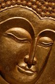 Buddha gold plated wooden portrait