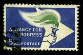 USA - CIRCA 1950: A stamp printed in USA shows image of the dedicated to the Alliance For Progress circa 1950.