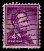 USA - CIRCA 1930: A stamp printed in USA shows image portrait Abraham Lincoln served as the 16th Pre