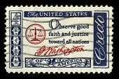 USA - CIRCA 1980: A stamp printed in USA shows image of the dedicated to the American Justice circa