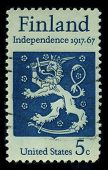 USA - CIRCA 1967: A stamp printed in USA shows image of the dedicated to the Finland Independence 1917-1967, circa 1967.