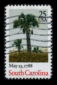 USA - CIRCA 1988: A stamp printed in USA shows image of the dedicated to the May 23, 1788 - South Carolina ratifies the United States Constitution and becomes the 8th U.S. state, circa 1988.