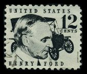 USA - CIRCA 1970: A stamp shows image portrait Henry Ford (July 30, 1863 - April 7, 1947) was a prominent American industrialist, the founder of the Ford Motor Company, circa 1970.