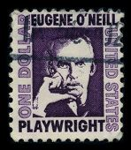 USA-CIRCA 1972: A stamp printed in USA shows portrait Eugene Gladstone O'Neill (16 October 1888 - 27